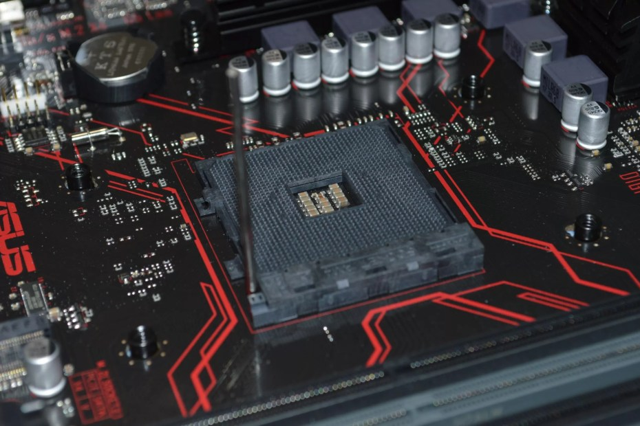 red and black computer motherboard