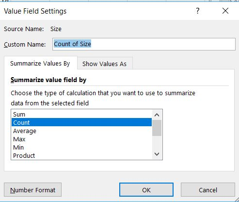 Value Field Settings for Pivot Table Column