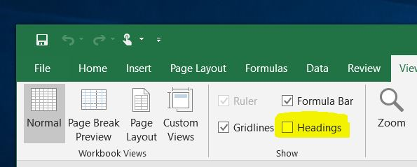 Show or hide excel row or column headings