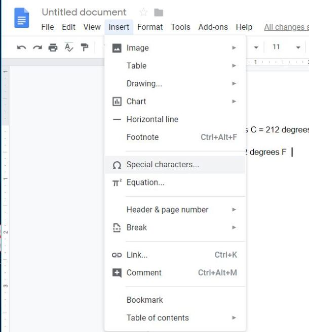 How do you insert the degree symbol in Google Docs? - ITFixed com