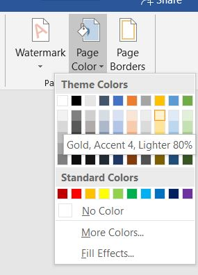 pick a page background color