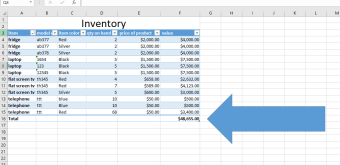 Spreadsheet with call out arrow