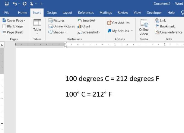 Word degree symbol results