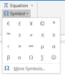 More Symbols in Word