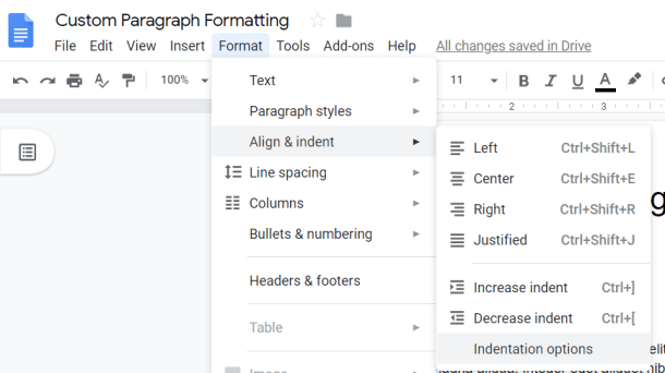 Google Docs Align and Indent options