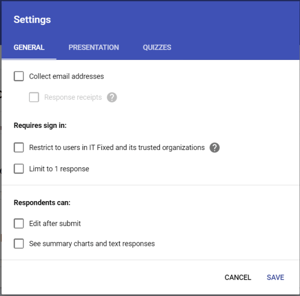 Google Form Settings