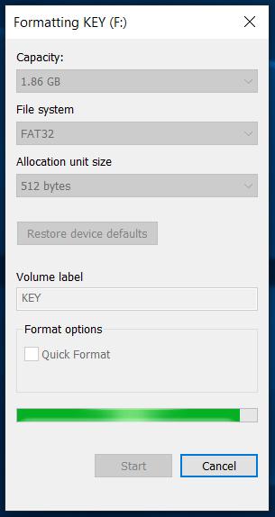USB formatting