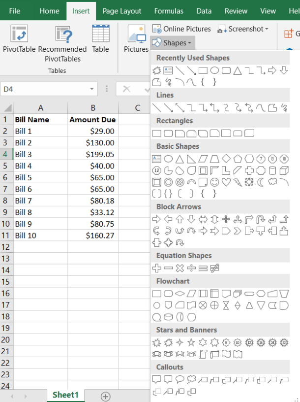 Excel Shapes Menu