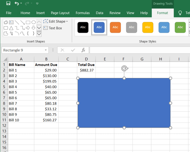 Excel Rectangle Shape