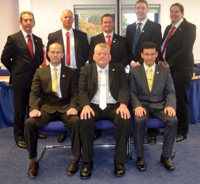 Back Row L-R: Mr. B. McGowan, Mr. R. Blair, Mr. G. Shaw, Mr. D. Condie, Mrs. G. McIlvaney  Front Row L-R: Master Hutton, Grand Master MacCallum, Master Campins