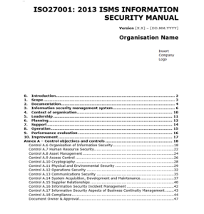 ISO 27001 Templates - Information Security Manual