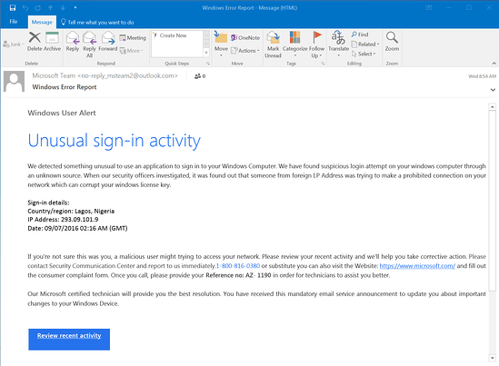 """A phishing email claiming that there has been """"unusual sign-in activity"""""""