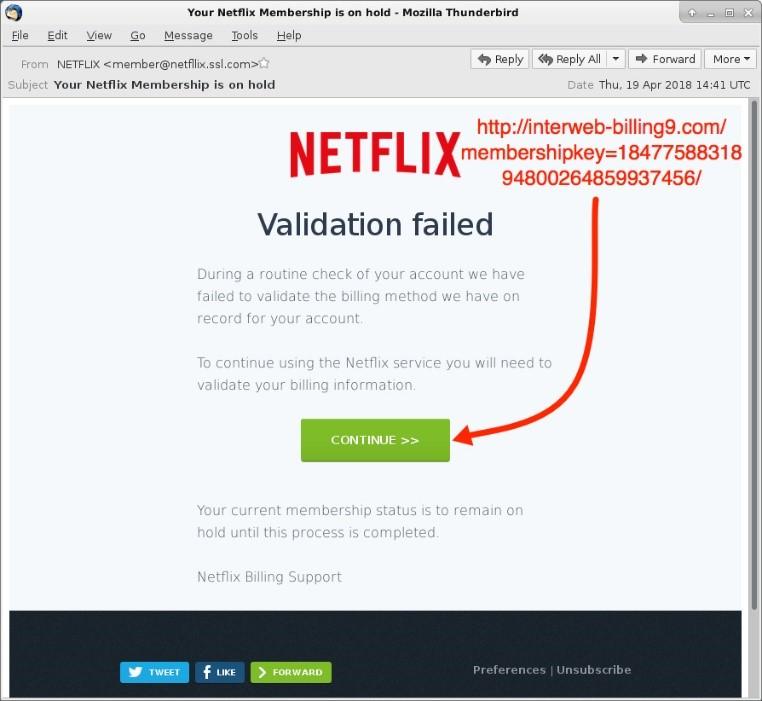 A phishing email imitating Netflix