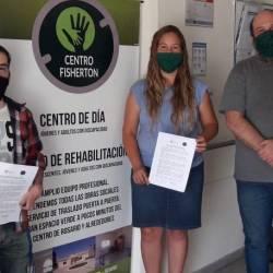 Firma de convenio con Martín Di Luzio, Silvana Giuliato y Daniel Ferrer en Centro Fisherton.