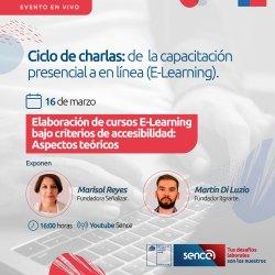 Flyer de la charla. Fotos de Martín Di Luzio y Marisol Reyes. Logo de Gobierno de Chile