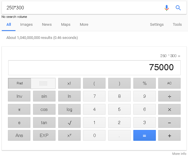 calculator dalam google