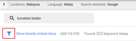 filter google keyword planner