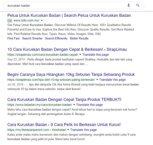 google search kuruskan badan
