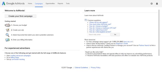 halaman utama gogle adwords selepas login