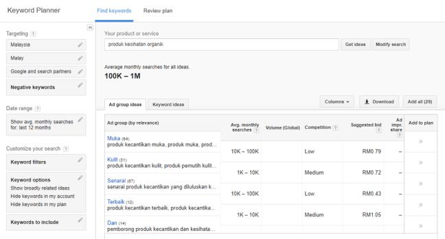 keputusan pencarian keyword planner