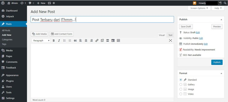 bentuk post editor pada wordpress