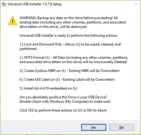 notifikasi UUI sewaktu hendak bermula untuk membuat portable OS