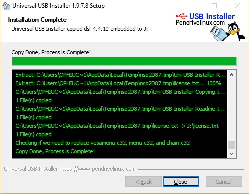 Proses pembuatan OS dalam usb drive selesai!