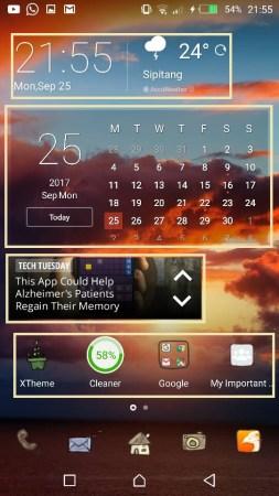 buang widget pada homescreen