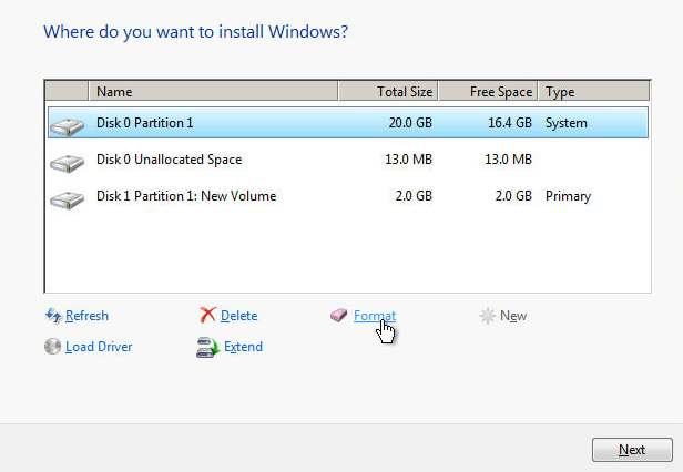 pilihan partition untuk install windows