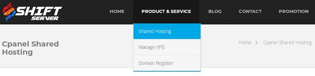 menu shared hosting