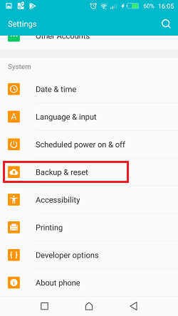 setting backup reset