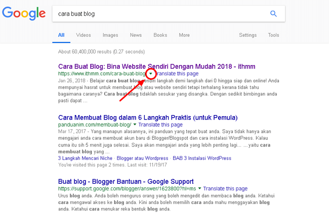 versi cached google