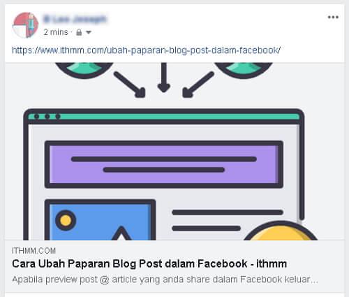 Paparan Blog Post dalam facebook kurang menarik
