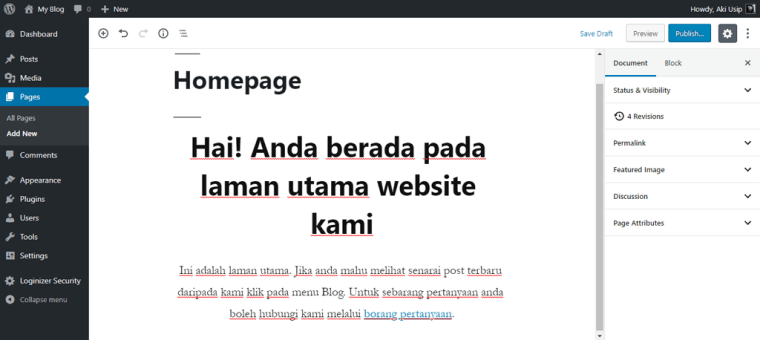 contoh new page untuk homepage
