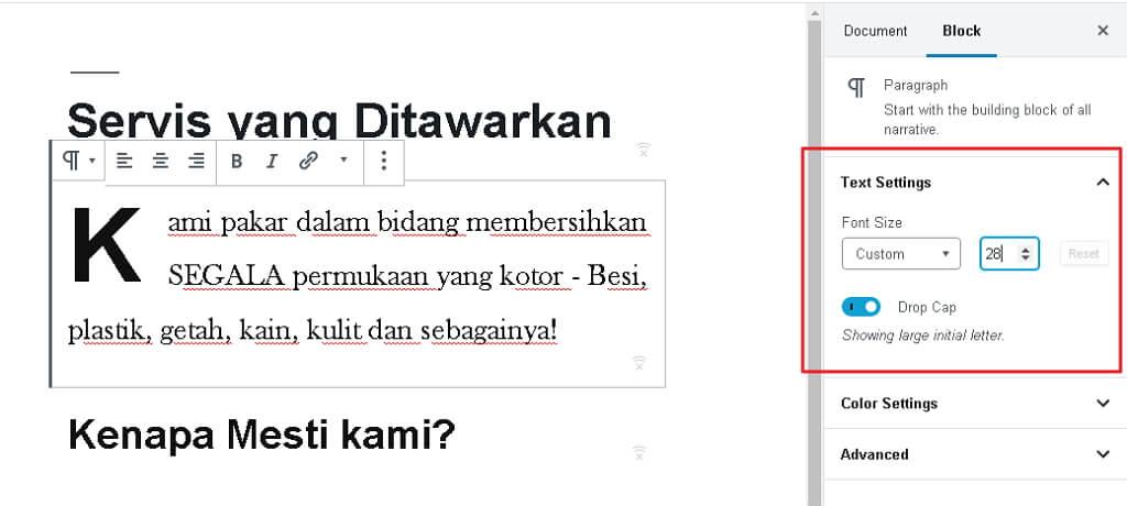 contoh setting block font text