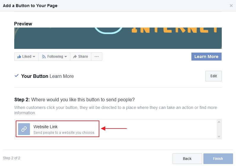 setting butang whatsapp facebook page