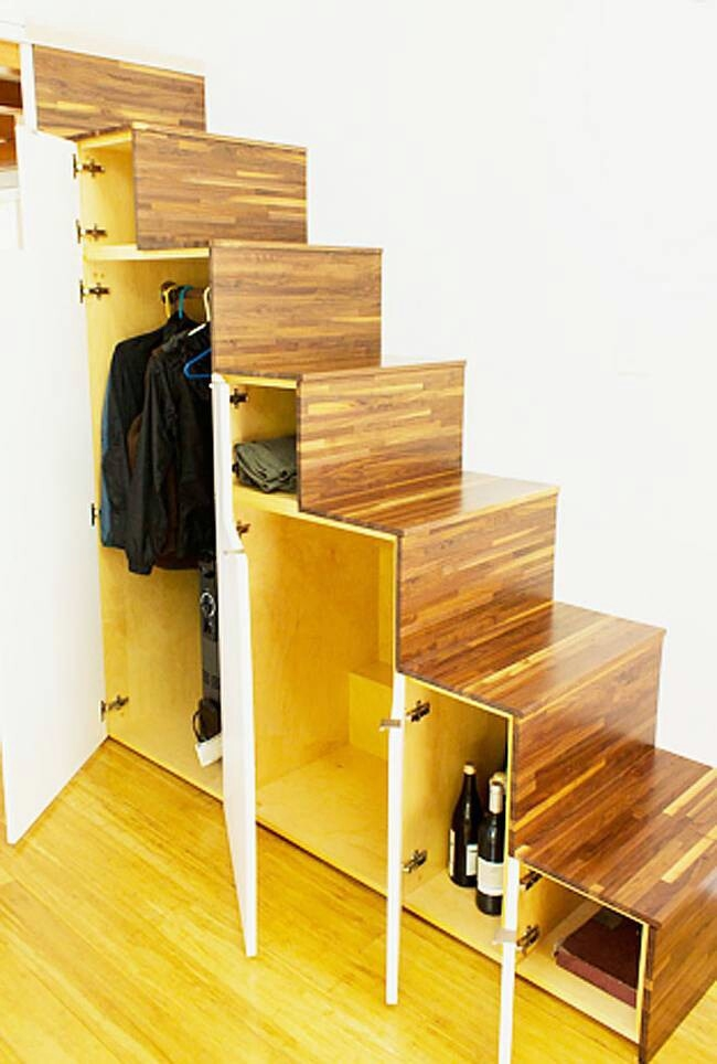 40 Tiny House Storage And Organizing Ideas For The Entire Home | Space Saving Staircases For Small Homes | Design | Spiral Staircases | Staircase Design | Attic Ladder | Staircase Ideas