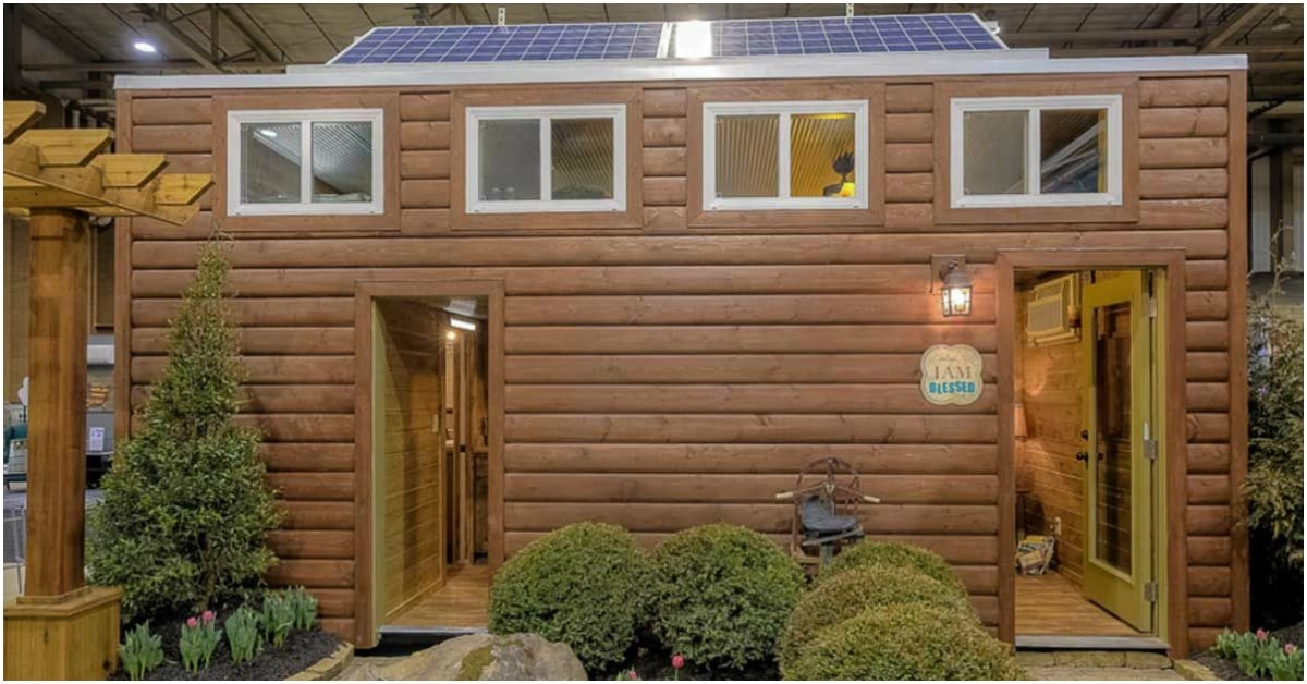 This Shipping Container Was Turned Into A Rustic Log Tiny House Tiny Houses
