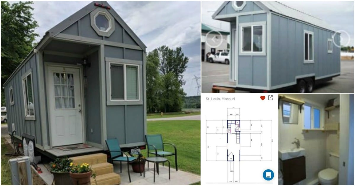 This Tiny House For Sale in Oklahoma is Beautiful in Blue