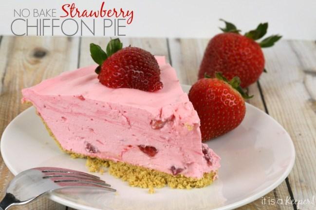 No bake Strawberry Chiffon Pie Dessert Recipe