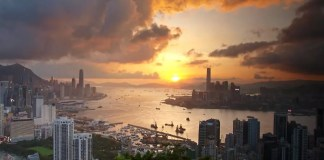 Sunset at Victoria Harbor seen from Braemar Hill 寶馬山觀維維日落