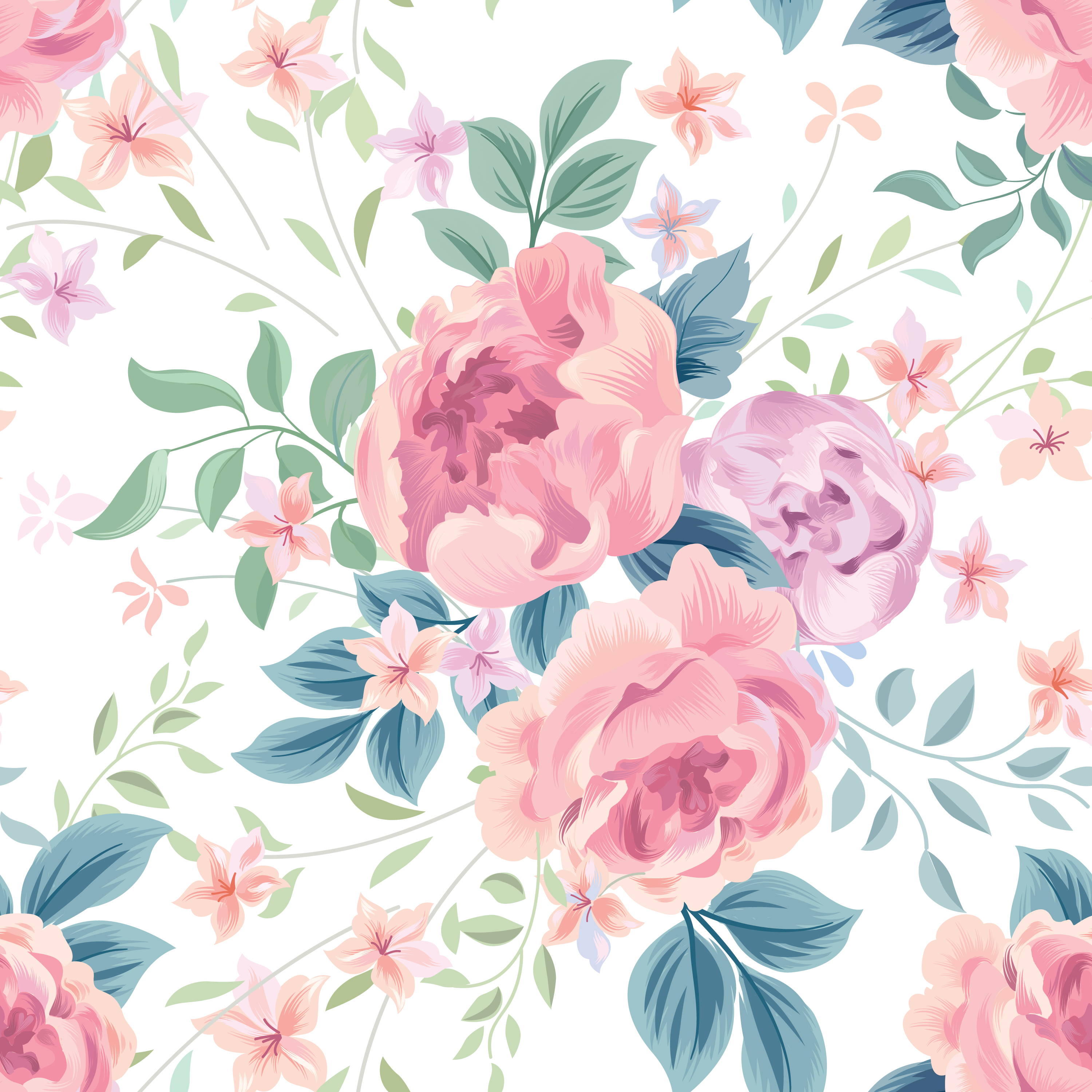 Floral Seamless Pattern Pastel Watercolor Floral Vector 2597536 Hd Wallpaper Backgrounds Download