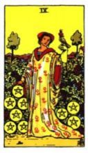 THE NINES OF PENTACLES