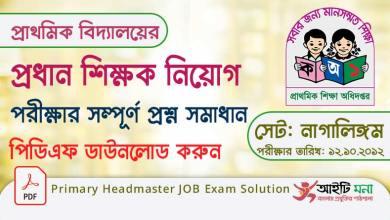 |Primary Headmaster JOB Exam Solution
