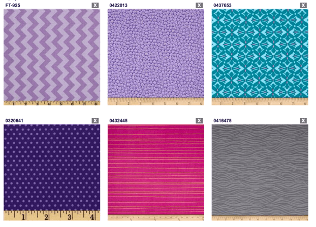 patterned fabric selections