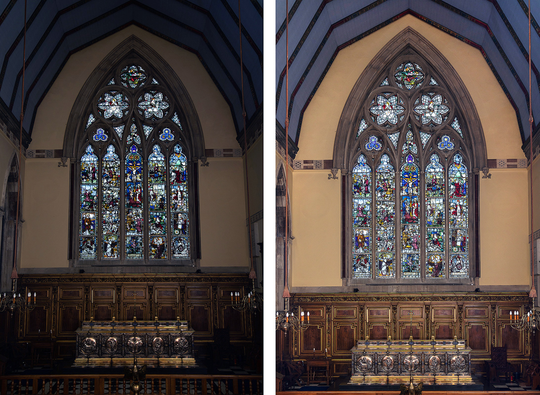 Entire window in context before and after post production adjustments. Perfect exposure for glass and ambient light lifted by bounced flash so no hot spots. Post production work includes perspective correction and exposure lifting of room, subtle dodging and burning selectively of glass.