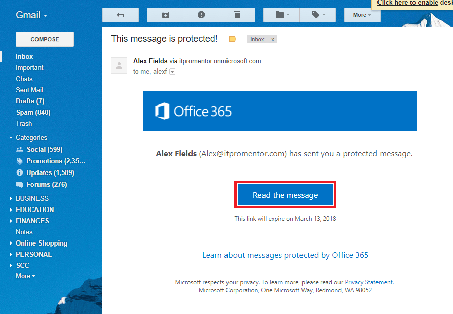 "Tutorial: Enabling the ""new"" Office 365 Email Encryption"