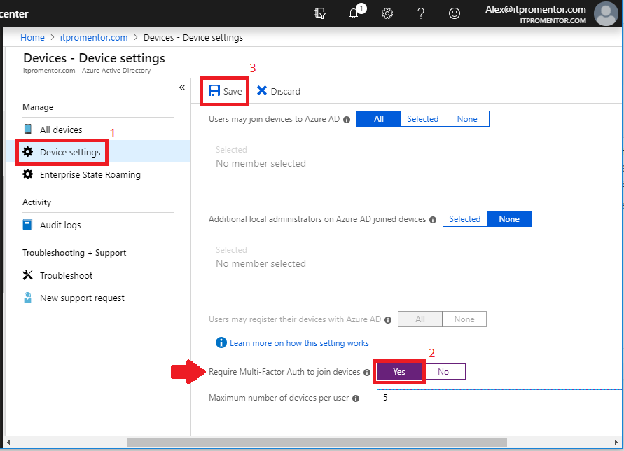 How to require MFA for Azure AD Join, and enable Enterprise State