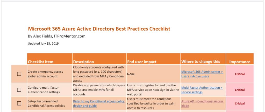The Azure AD Best Practices Checklist – ITProMentor