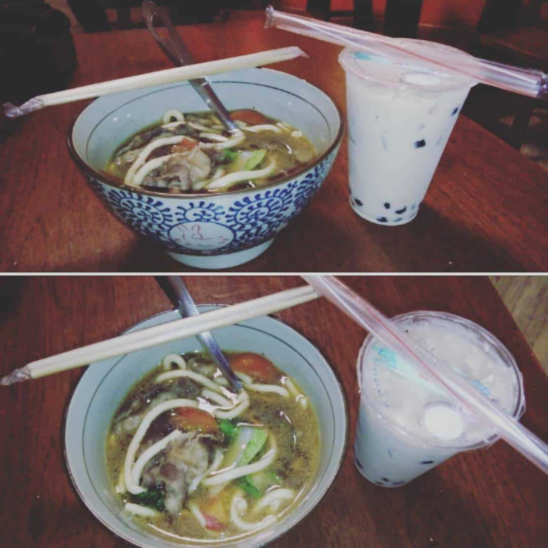 Yum yum BeefNoodles and I got addicted to BubbleMilkTea inhellip